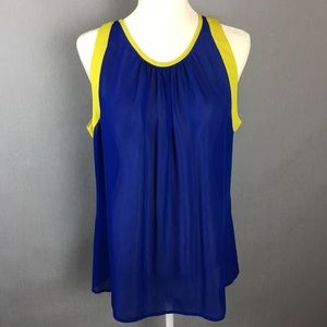 Banana Republic sleeveless sheer blouse royal blue